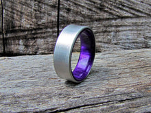 purple acrylic resin and titanium man ring