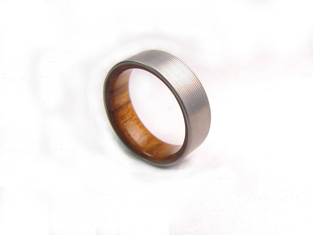 titanium finish wood chamfer duality men band ring teak products mens and rings s stonewashed wedding w stonewash