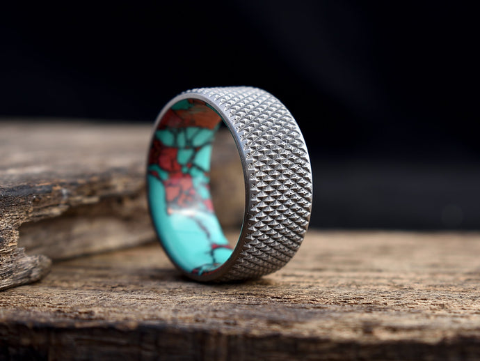 Knurled titanium mens wedding band with turquoise tru stone liner