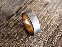 Men's Titanium and Teak Wood Wedding Band