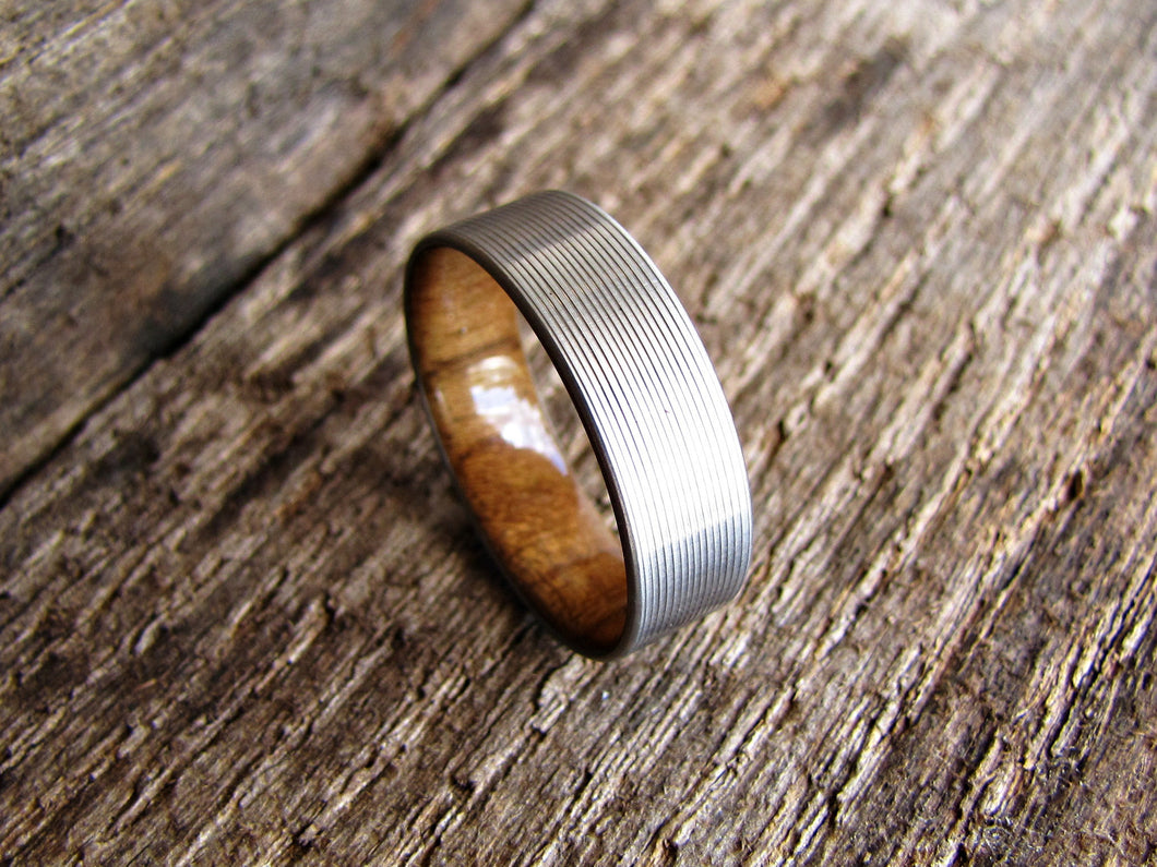 comfort and rounded titanium teak inlay t with wood ring rings contemporary jewellery product