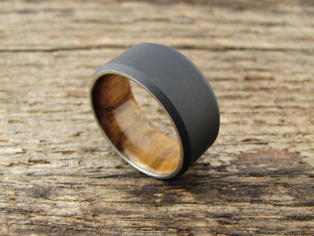 wedding products band mens teak s rings duality metal and ring titanium wood men