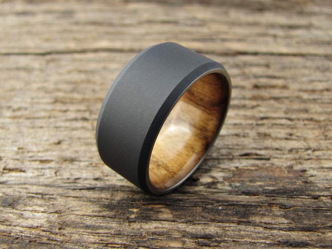 wood wedding finish titanium duality chamfer men rings mens w stonewashed stonewash band teak products s ring and