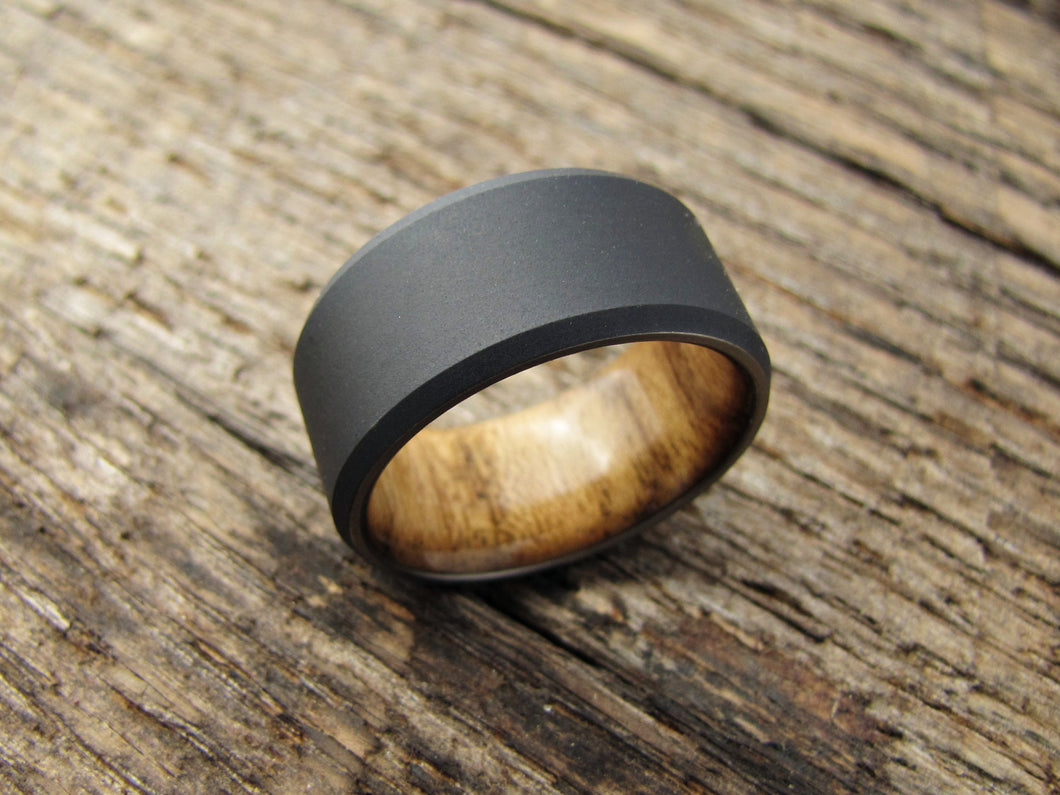 inlay wood teak beveled mm s men rings in tungsten wedding mens ring