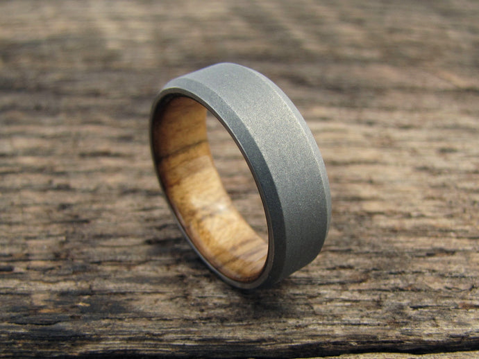 Stonewashed titanium and teak wood mens ring