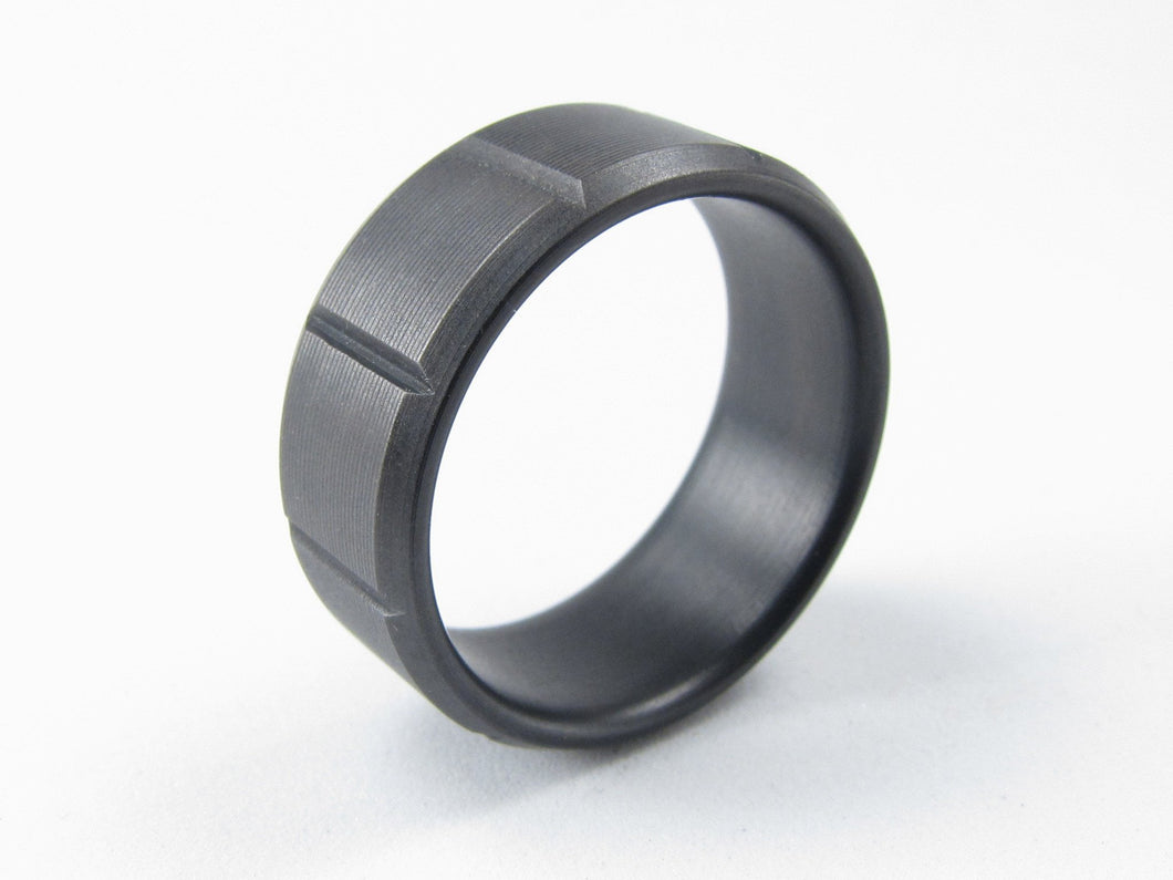 Black titanium mens ring with machined grooves