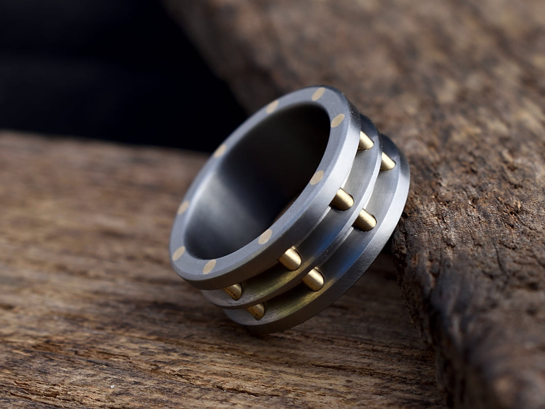 Steam - Brass and Titanium Men's Wedding Band