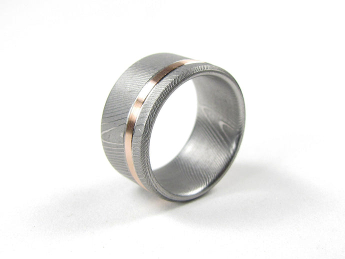 Cronus - Damascus Steel and Rose Gold Inlay Men's Wedding Band