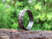 distressed titanium mens ring with copper inlay