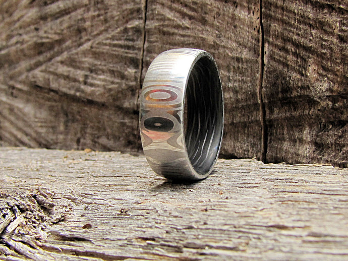 Damascus steel and carbon fiber mens wedding band