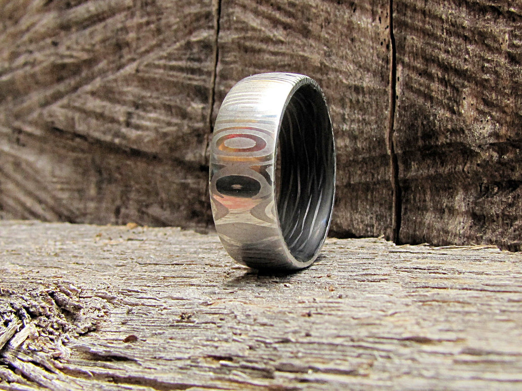 Eclipse - Damascus Steel and Carbon Fiber Men's Ring