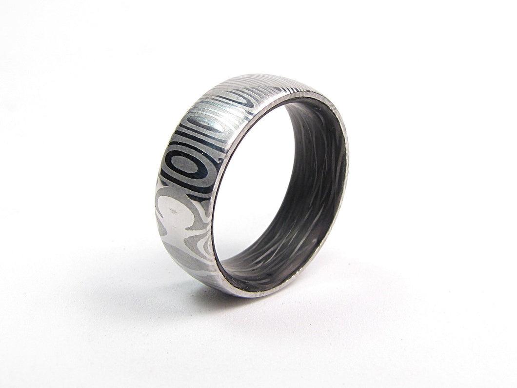Eclipse - Damascus Steel and Carbon Fiber Men\'s Ring – Richter Scale ...