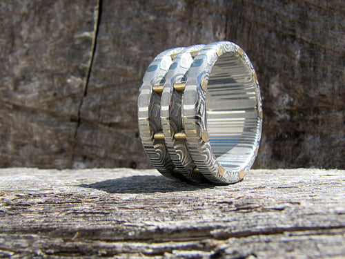 Steampunk style Damascus steel and brass mens ring