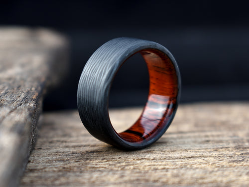 Carbon Fiber and Cocobolo Wood Men's Wedding Band