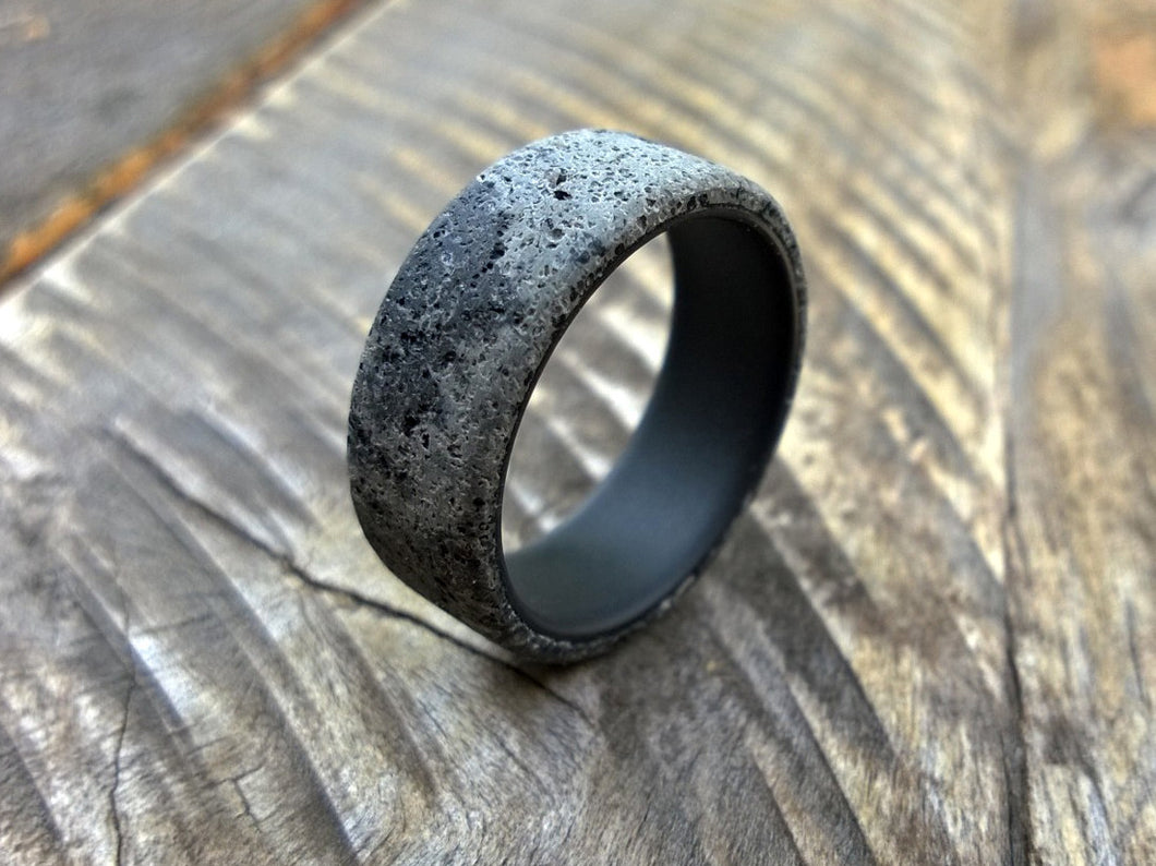 Black titanium and concrete mens wedding ring