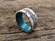 Knurled titanium and white turquoise tru-stone mens ring