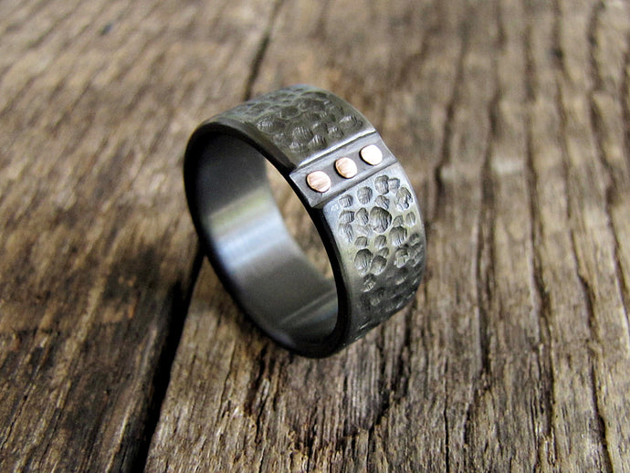 Archon - Black Zirconium and Rose Gold Wedding Band
