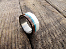 Cocobolo wood, deer antler, and turquoise mens wedding ring