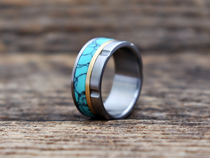Turquoise tru-stone and titanium mens wedding ring with brass inlay