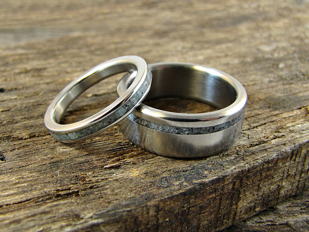 Unity - Titanium and Stone Inlay His & Hers Wedding Set