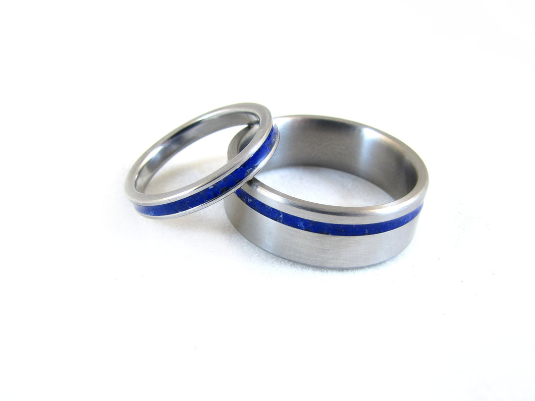 Unity (Deep Cosmic Blue) His & Hers Titanium and Blue Lapis Stone Inlay Wedding Set