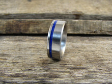 Unity (Deep Cosmic Blue) Men's Brushed Titanium And Lapis Stone Inlay Ring