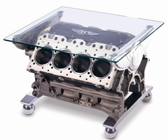 Car Engine Metal Coffee Table with Glass Top