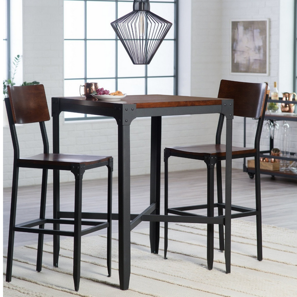 Industrial 3 Piece Pub Table Set