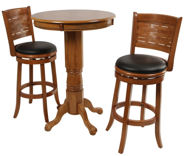 Oak 3 Piece Pub Table Set - Christian's Table