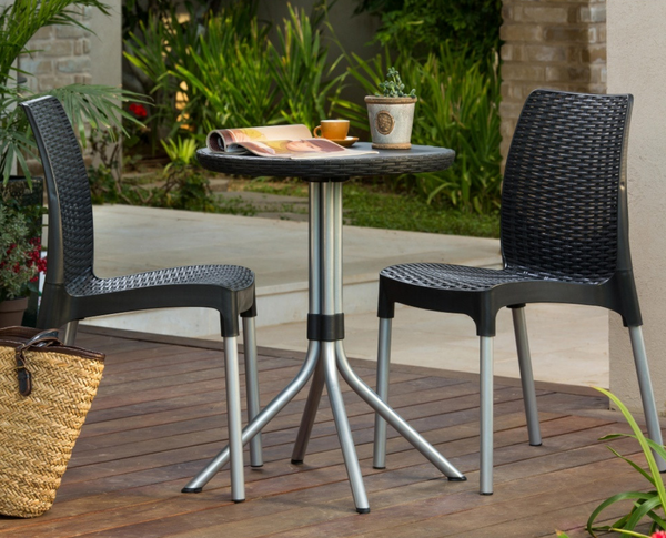 3 Piece Wicker Patio Bistro Set
