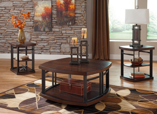 Rustic Brown 3 Piece Coffee Table Set