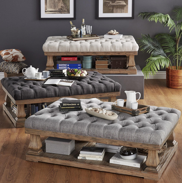 All three color options of cushioned coffee table