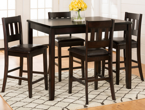 Dark 5 Piece Counter Height Dining Set - Espresso Brown - Christian's Table
