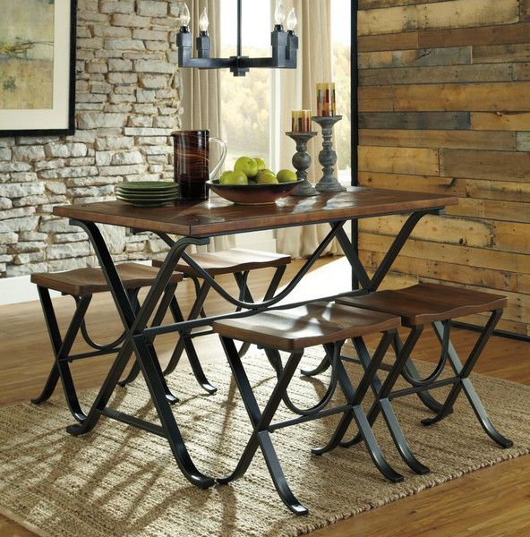 Industrial 5 Piece Dining Table Set - Christian's Table
