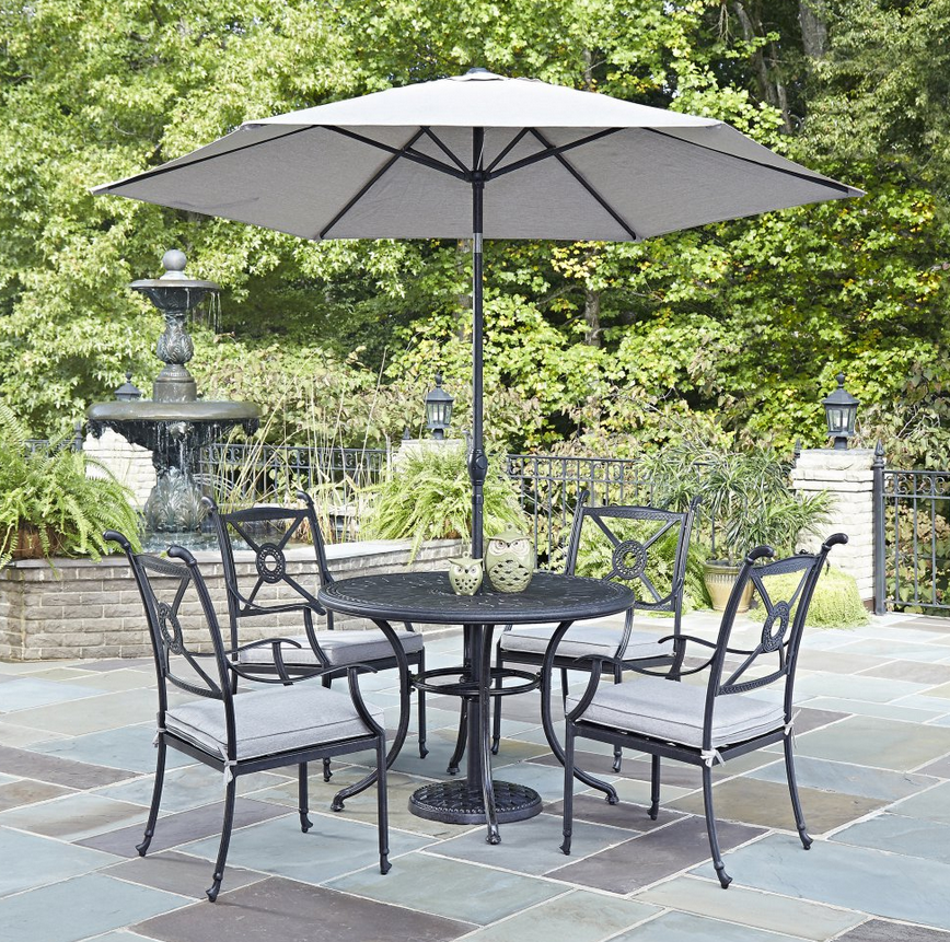5 Piece Round Patio Dining Set with Umbrella - Christian's Table