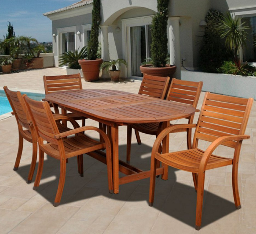 7 Piece Oval Eucalyptus Patio Dining Set