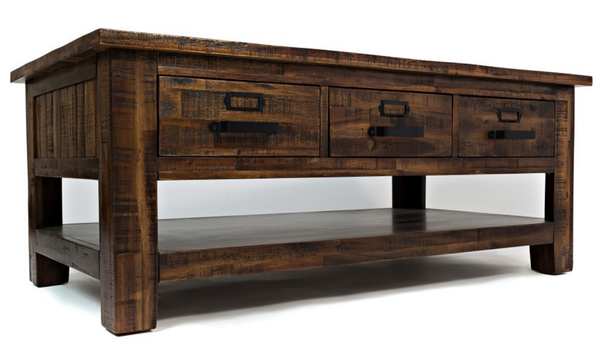 Acacia Wood Distressed Coffee Table
