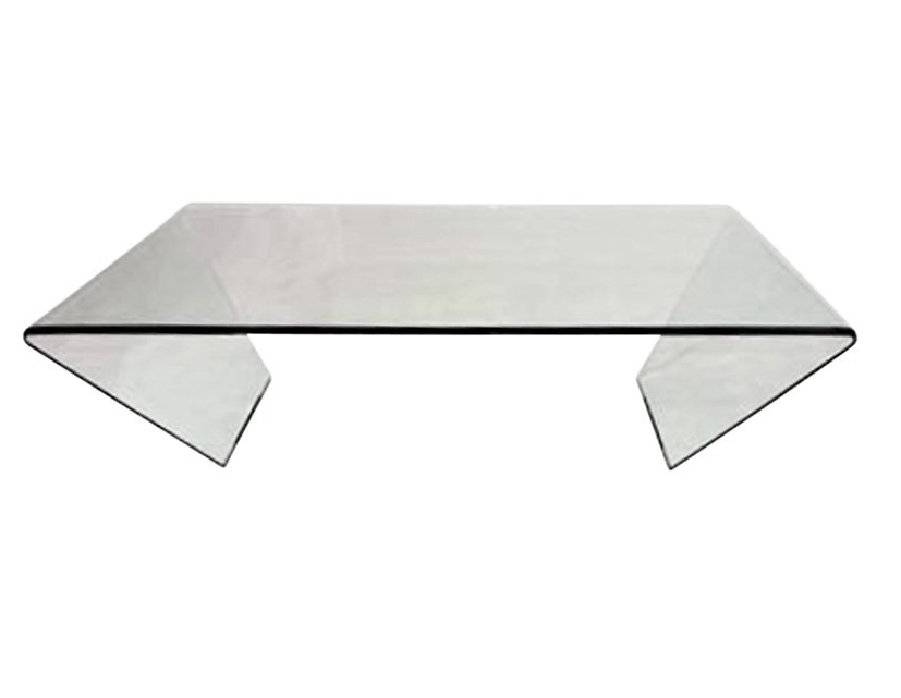Modern Bent Glass Coffee Table - Square or Rectangular Shape - Christian's Table