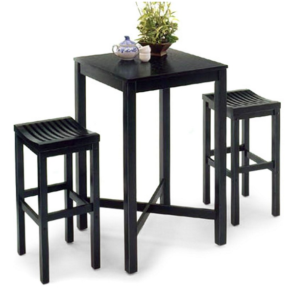 Black 3 Piece Pub Table Set - Christian's Table