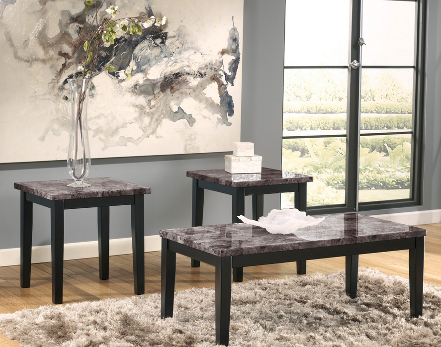 3 Piece Black Coffee Table Set