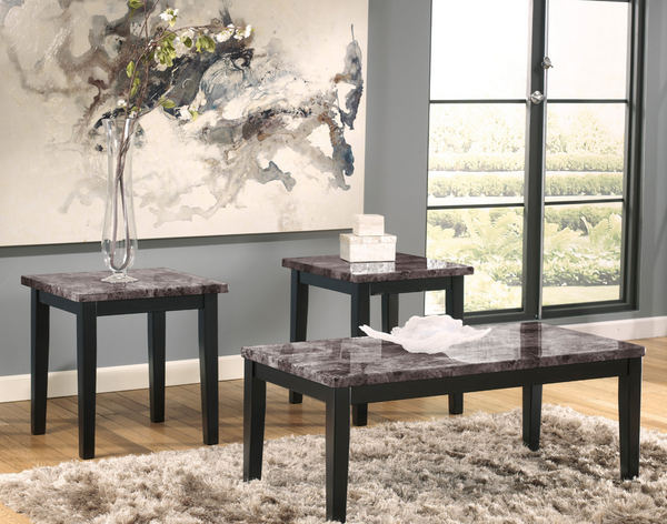 Gray Faux Marble Black Coffee Table Set - 3 Piece - Christian's Table