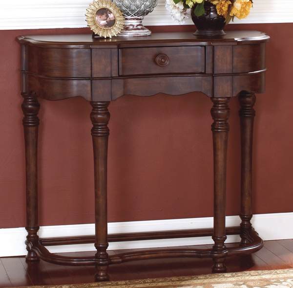 Dark Brown Crescent Entryway Table - Christian's Table