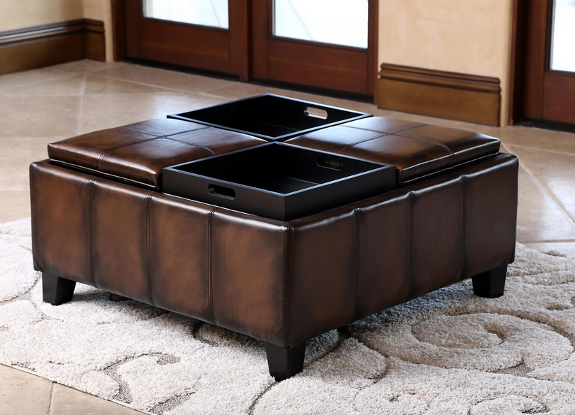 ... Brown Leather Square Coffee Table Ottoman   Christianu0027s Table ...