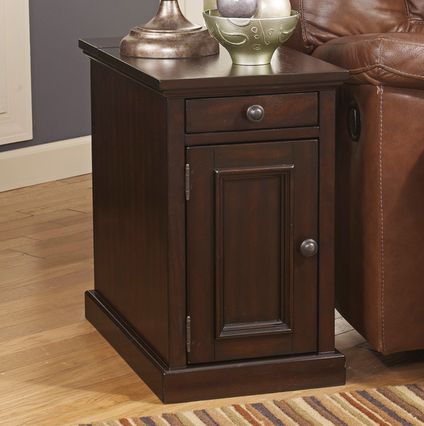 Power Strip USB Chair Side End Table - Sable Brown - Christian's Table