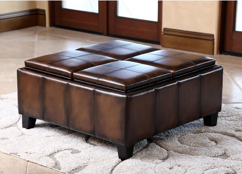 ... Brown Leather Square Coffee Table Ottoman   Christianu0027s Table
