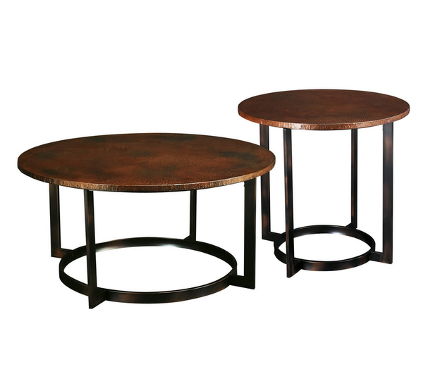 Round Coffee Table Set - Hammered Copper - Christian's Table