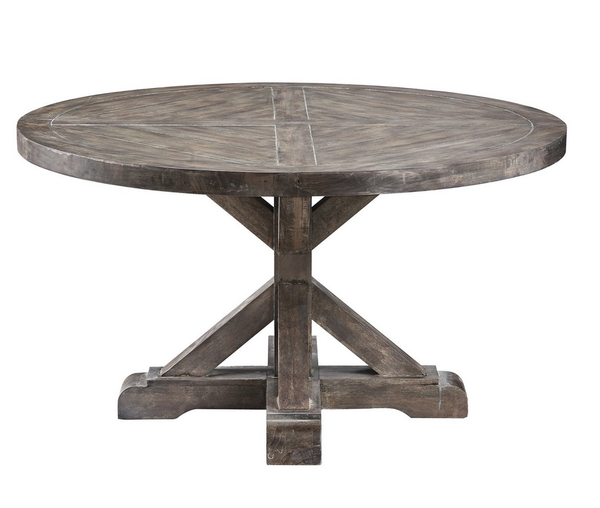 Cottage Round Coffee Table - Rustic Weathered Gray - Christian's Table