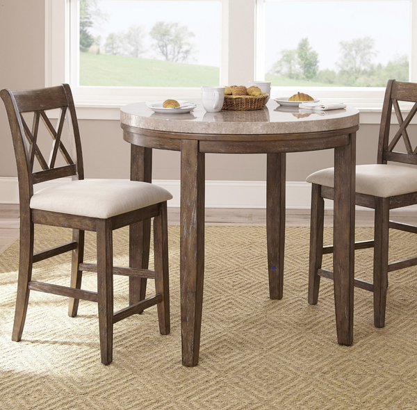 Marble Top Counter Height Dining Table Set - Distressed Ash Gray - Christian's Table