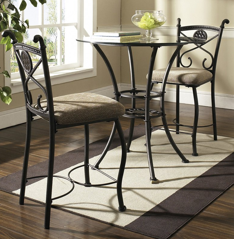 Glass Top 3 Piece Counter Height Dining Table Set
