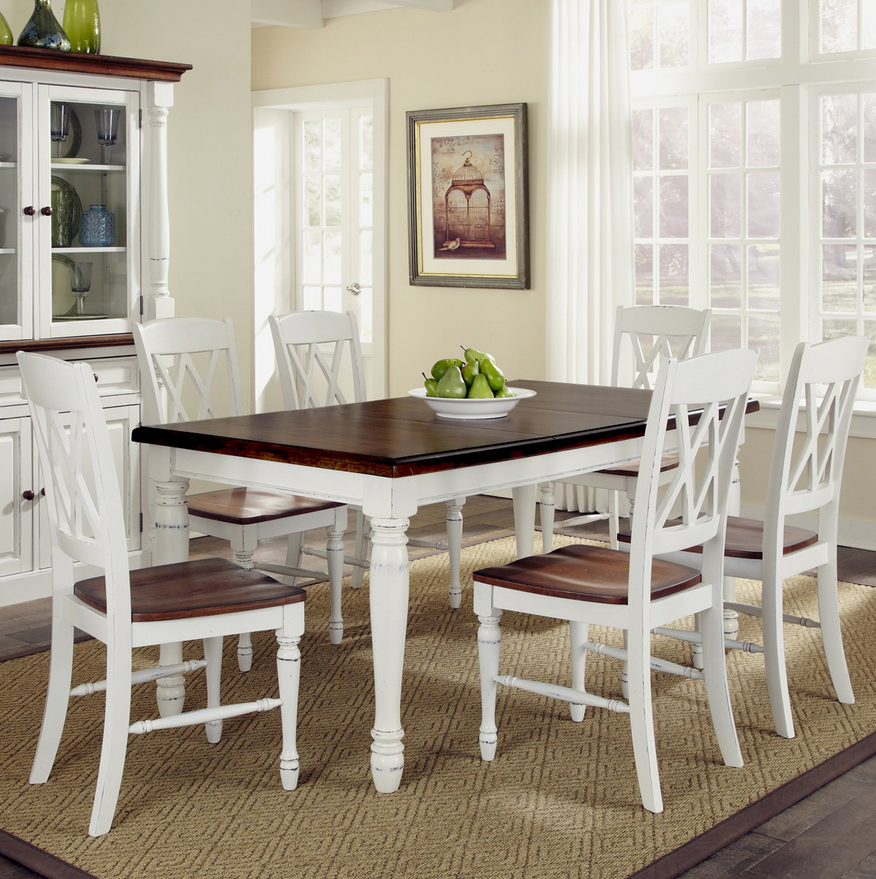 Distressed Cottage White & Oak 7 Piece Dining Table Chair Set - Christian's Table